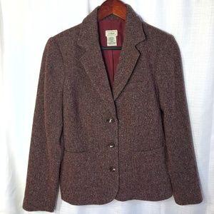 L.L.Bean Wool & Silk Herringbone Blazer Sz S